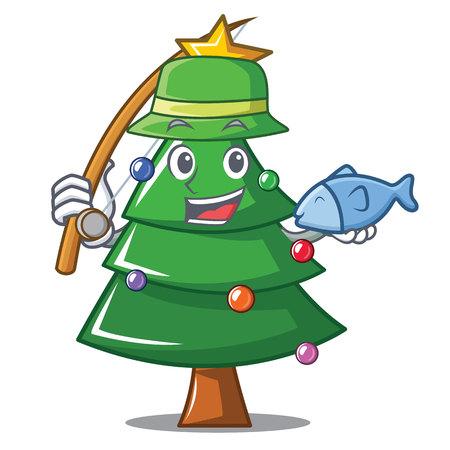 Fishing Christmas tree character cartoon vector illustration