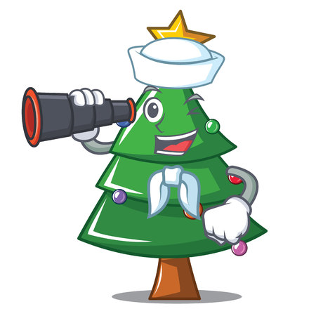 Sailor with binocular Christmas tree character cartoon Illustration