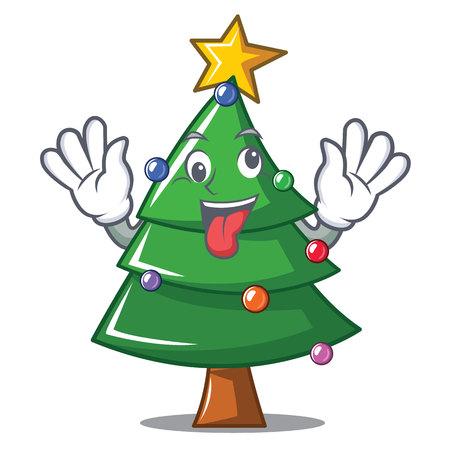Crazy Christmas tree character cartoon vector illustration