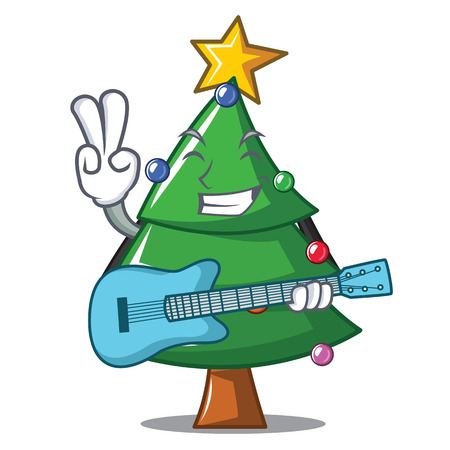 With guitar Christmas tree character cartoon vector illustration