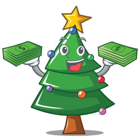 with money christmas tree character cartoon vector illustration royalty free cliparts vectors and stock illustration image 91245667