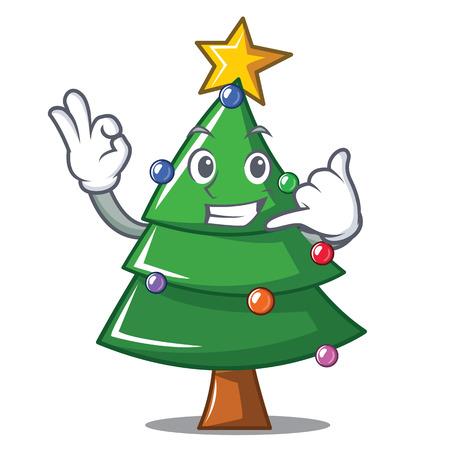 Call me Christmas tree character cartoon, vector illustration. Illustration