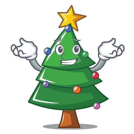 Grinning Christmas tree character cartoon