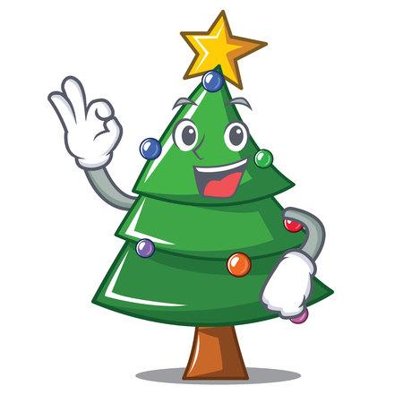 Okay Christmas tree character cartoon vector illustration