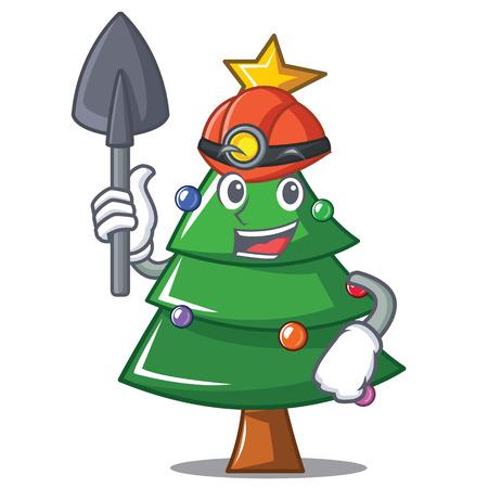 Miner Christmas tree character, cartoon vector illustration