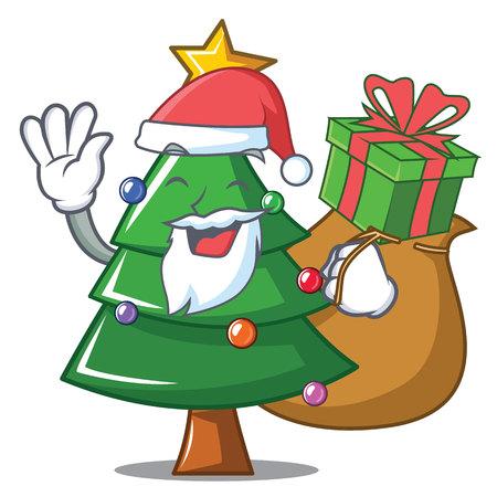 Santa with gift Christmas tree character cartoon vector illustration Illustration