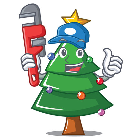Plumber Christmas tree character cartoon vector illustration  イラスト・ベクター素材