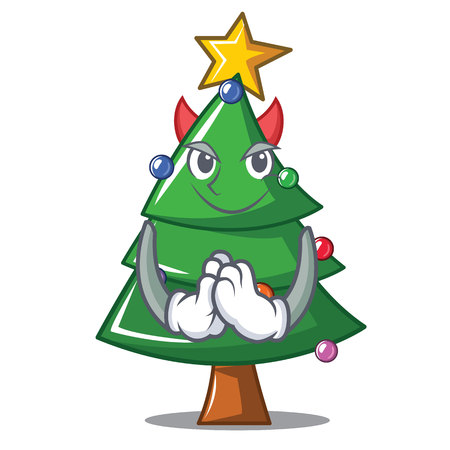 Devil Christmas tree character cartoon vector illustration Illustration