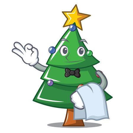 Waiter Christmas tree character, cartoon vector illustration