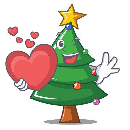 With heart Christmas tree character, cartoon vector illustration