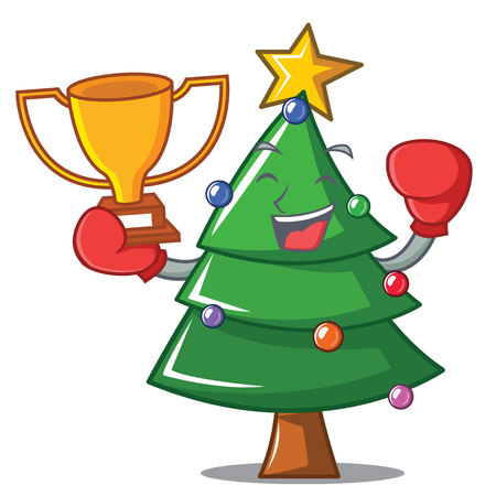 Boxing winner Christmas tree character cartoon vector illustration
