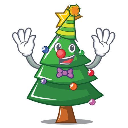 Clown Christmas tree character cartoon vector illustration Illustration