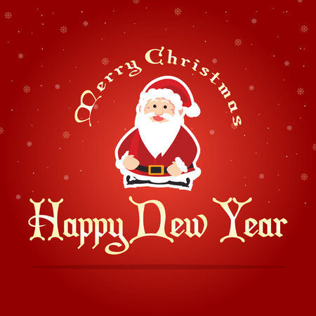 Happy Christmas on red background vector art illustration