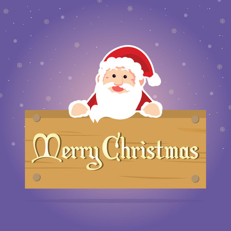 Merry Christmas greeting card with santa claus style vector illustration Illustration