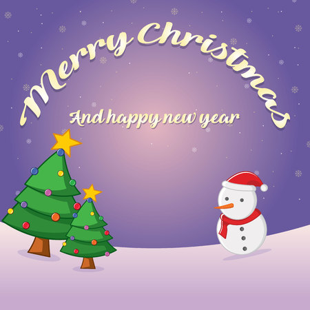 Merry Christmas greeting card style with snowman and tree  vector illustration
