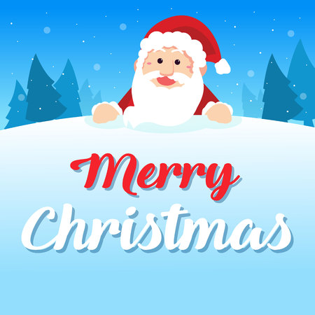 Merry Christmas with Santa greeting card with santa claus vector illustration
