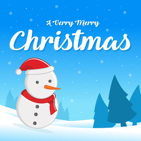Merry Christmas with Snowman greeting card Vector illustration.
