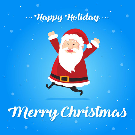 Christmas card cute design style with santa claus