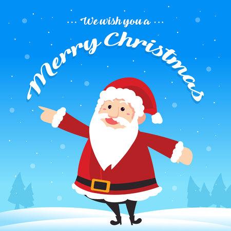 Christmas card cute design style with santa claus vector illustration