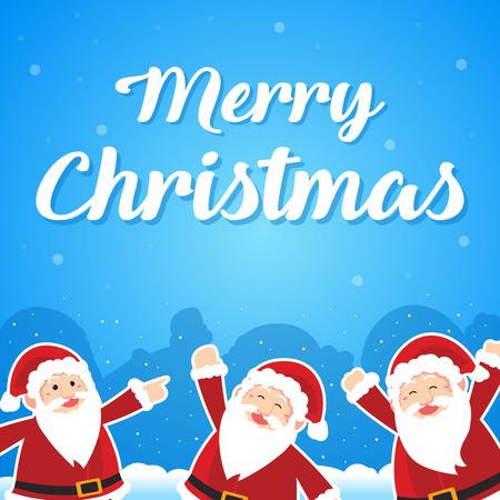 Merry Christmas with Santa greeting card vector illustration