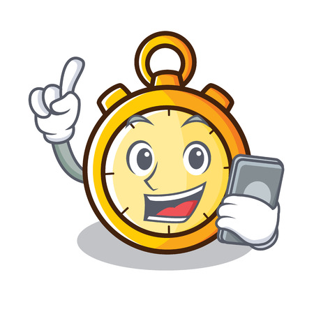 With phone chronometer character cartoon style vector illustration