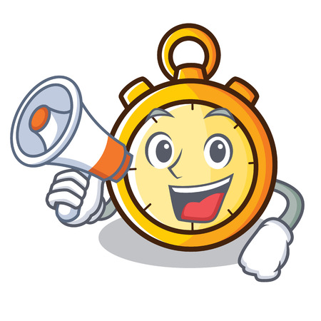 Chronometer character with megaphone cartoon style vector illustration