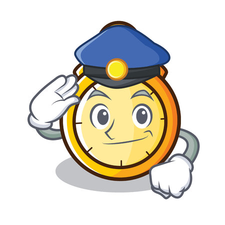 Police chronometer character cartoon style vector illustration