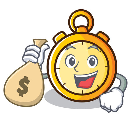 With money bag chronometer character cartoon style vector illustration