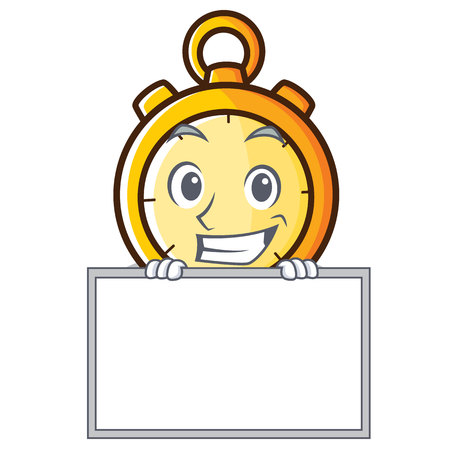 Grinning board chronometer character cartoon style vector illustration