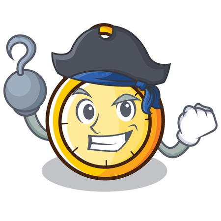 Pirate chronometer character cartoon style vector illustration