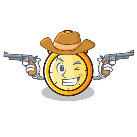 Cowboy chronometer character cartoon style vector illustration Illustration