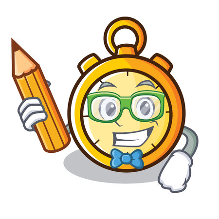 Student chronometer character cartoon style vector illustration