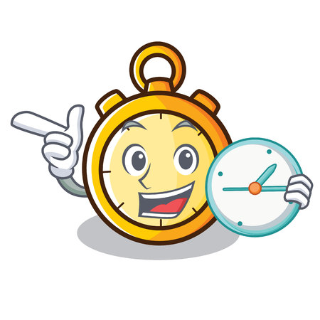 With clock chronometer character cartoon style vector illustration