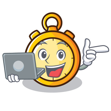Chronometer character with laptop cartoon style vector illustration Illustration