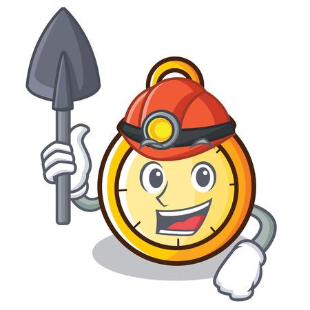 Miner chronometer character cartoon style