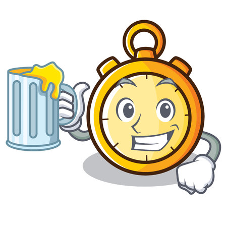 With beer chronometer character cartoon style Illustration