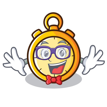 Geek chronometer character cartoon style vector illustration