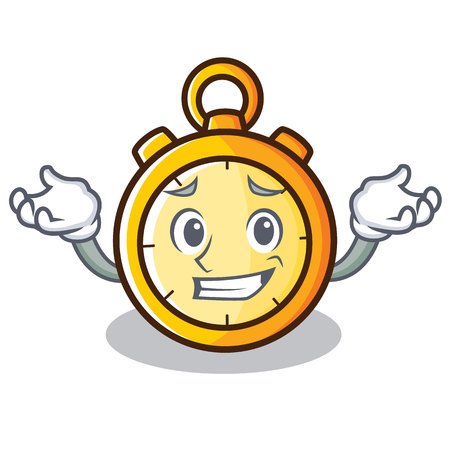 Grinning chronometer character cartoon style vector illustration