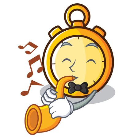With trumpet chronometer character cartoon style