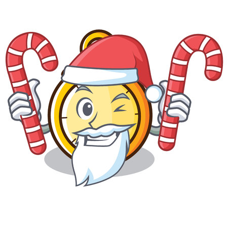 Santa with candy chronometer character cartoon style vector illustration