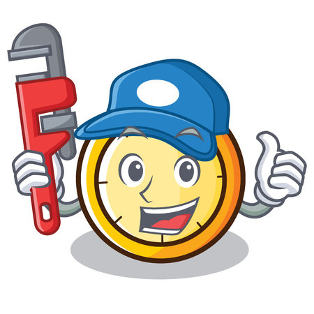 Plumber chronometer character cartoon style vector illustration
