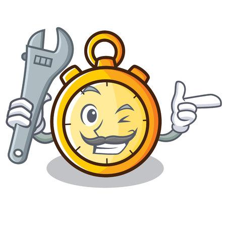 Mechanic chronometer character cartoon style vector illustration