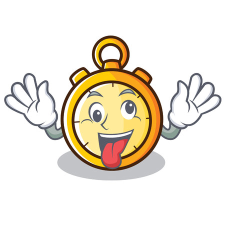 Crazy chronometer character cartoon style
