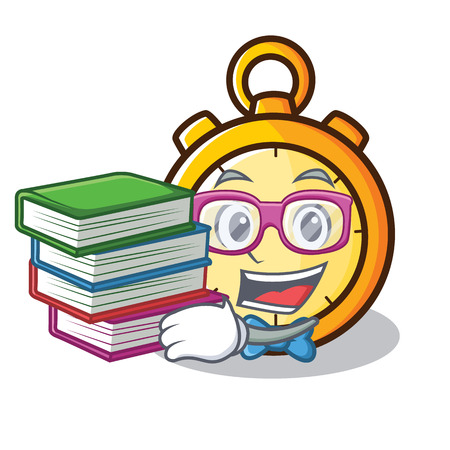 Student with book chronometer character cartoon style Illustration