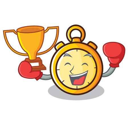 Boxing winner chronometer character cartoon style