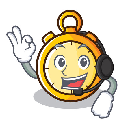With headphone chronometer character cartoon style