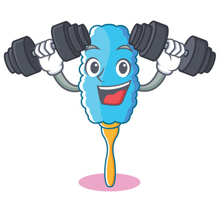 Fitness feather duster character cartoon vector illustration