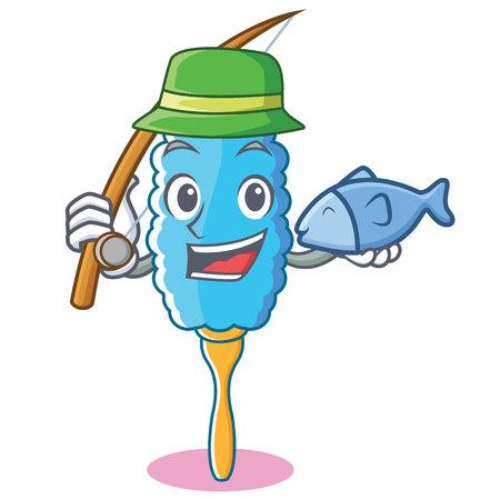 Fishing feather duster character cartoon vector illustration Illustration
