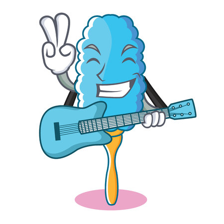 With guitar feather duster character cartoon vector illustration