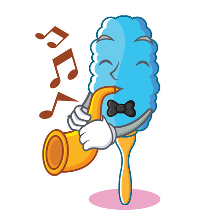 With trumpet feather duster character cartoon vector illustration